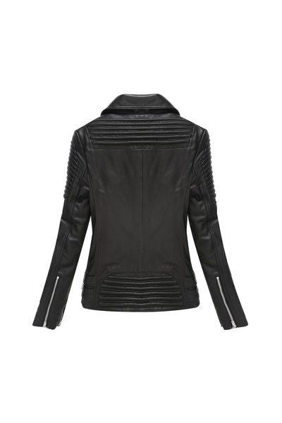 Zippered moto asymmetrical lambskin jacket with detailed piping - black