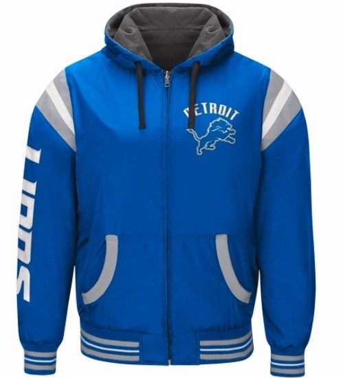 Authentic Detroit Lions Nylon Reversible Hooded Jacket (blue side)