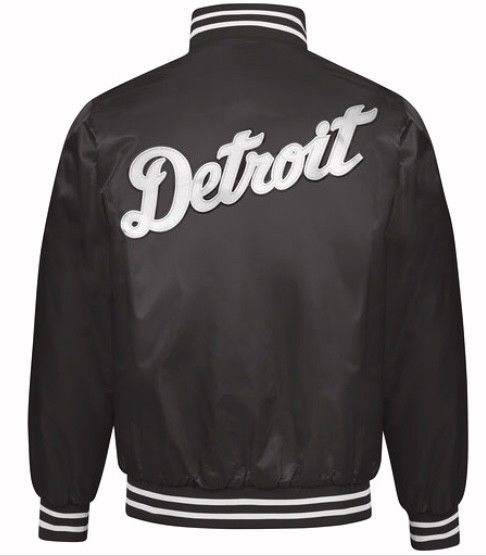 Authentic Detroit Tigers Baseball MLB Starter Jacket Black with White Script (back)
