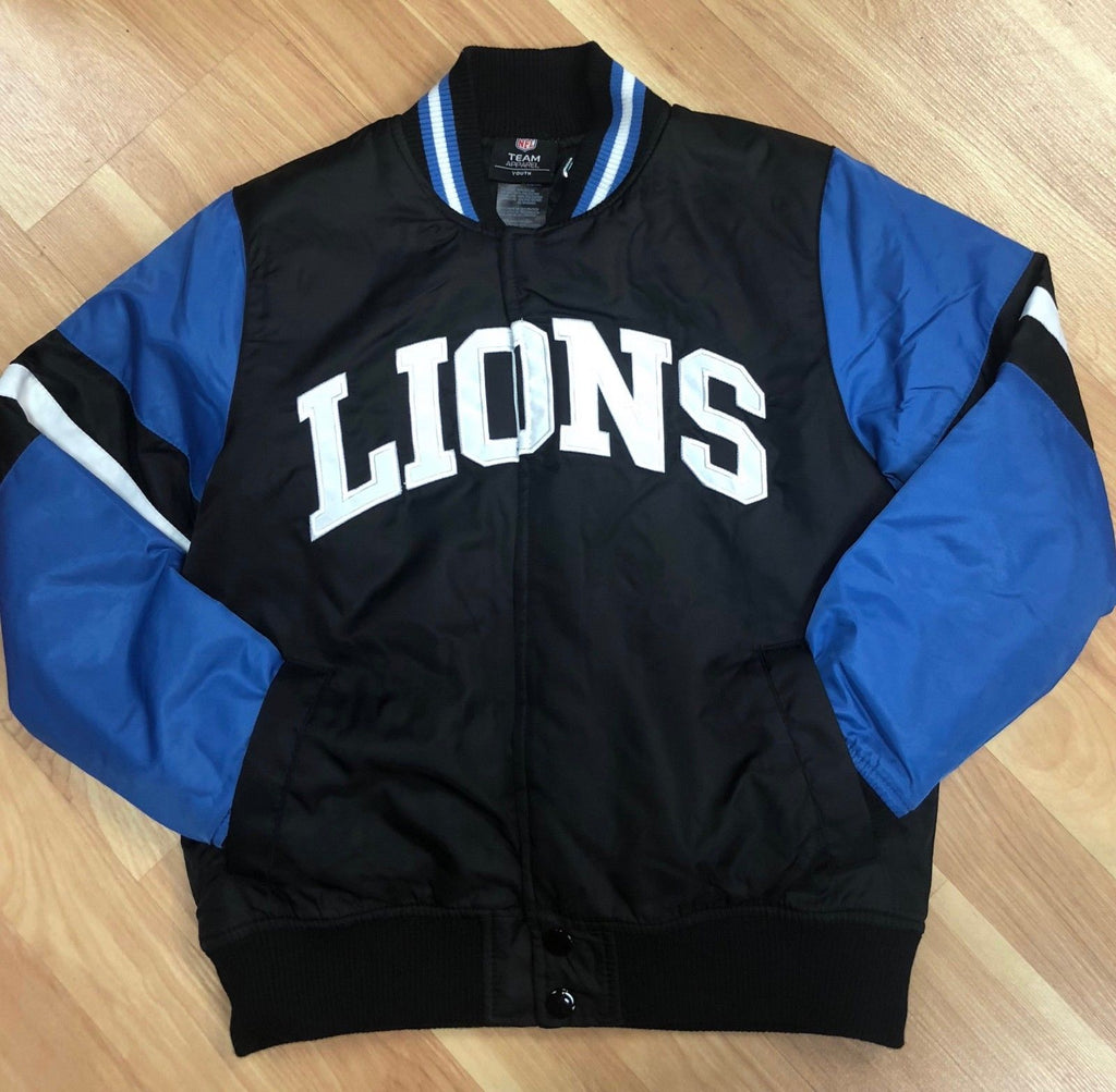 Officially Licensed NFL Detroit Lions Black and Blue Kids Nylon Jacket (Front)