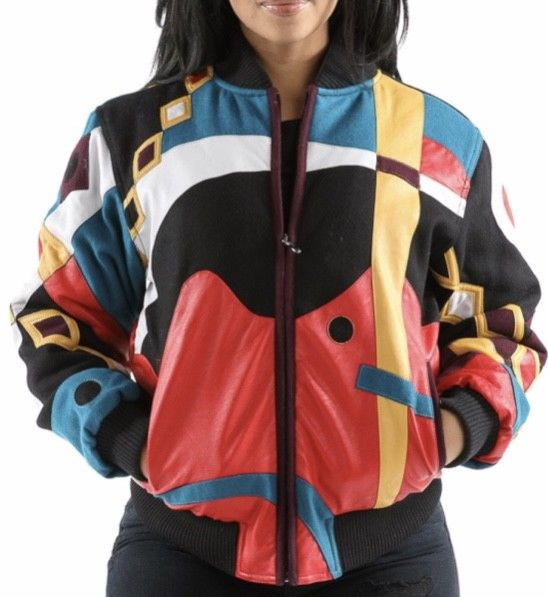 Ladies Pelle Pelle Wool Abstract Varsity Jacket -- Multi