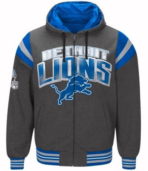 Authentic Detroit Lions Nylon Reversible Hooded Jacket (grey side)