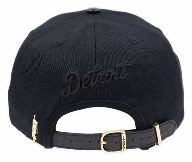 Detroit Tigers Baseball Pro Standard MLB Strap Back Cap - Black on Black (back)