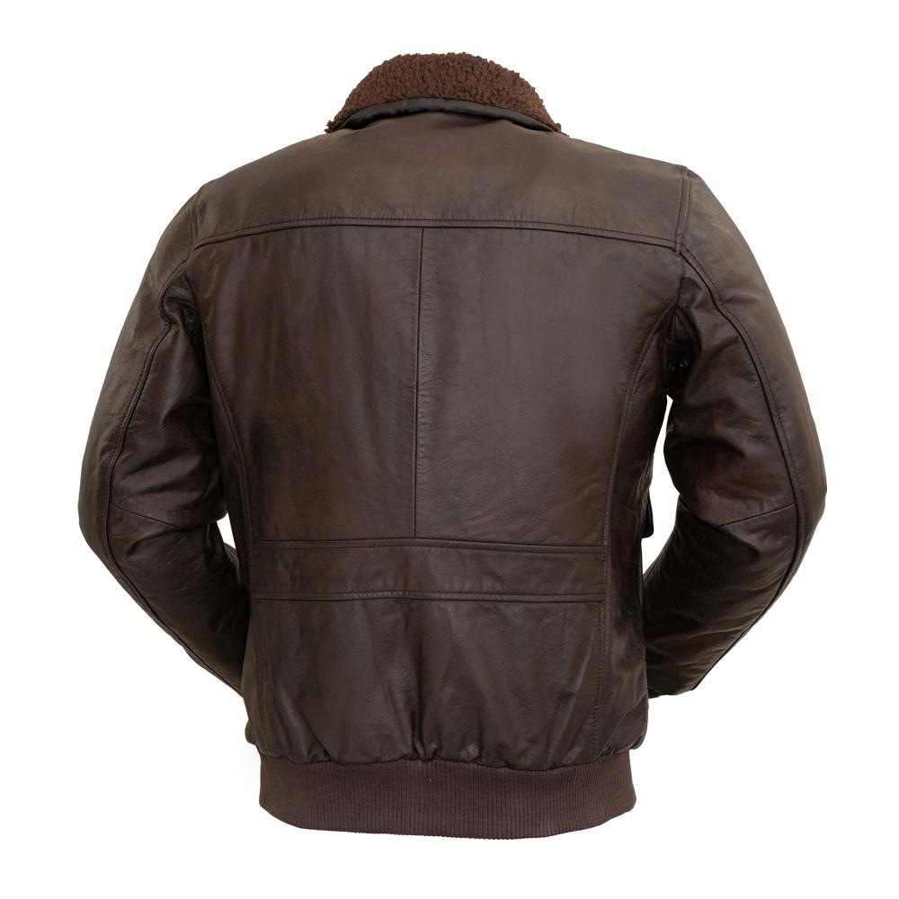 Bomber - Men's Fashion Leather Jacket (Brown)