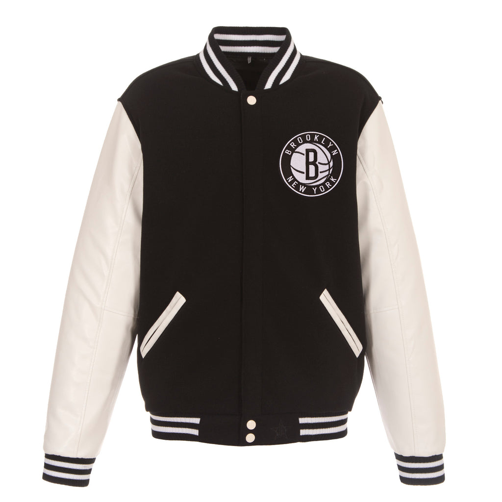 Brooklyn Nets Reversible Fleece Jacket – Black with White