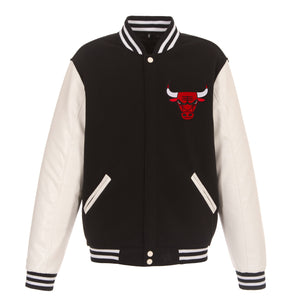 Chicago Bull Reversible Fleece Jacket – Black and White