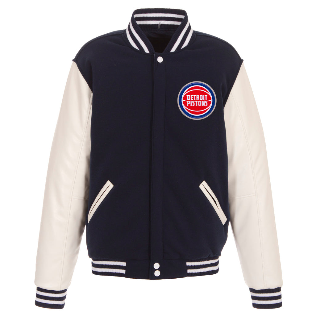 Detroit Pistons Reversible Fleece Jacket – Navy and White