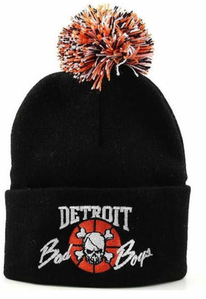 Detroit Bad Boys Cuffed Pom Beanie - Black with Multi Color Pom