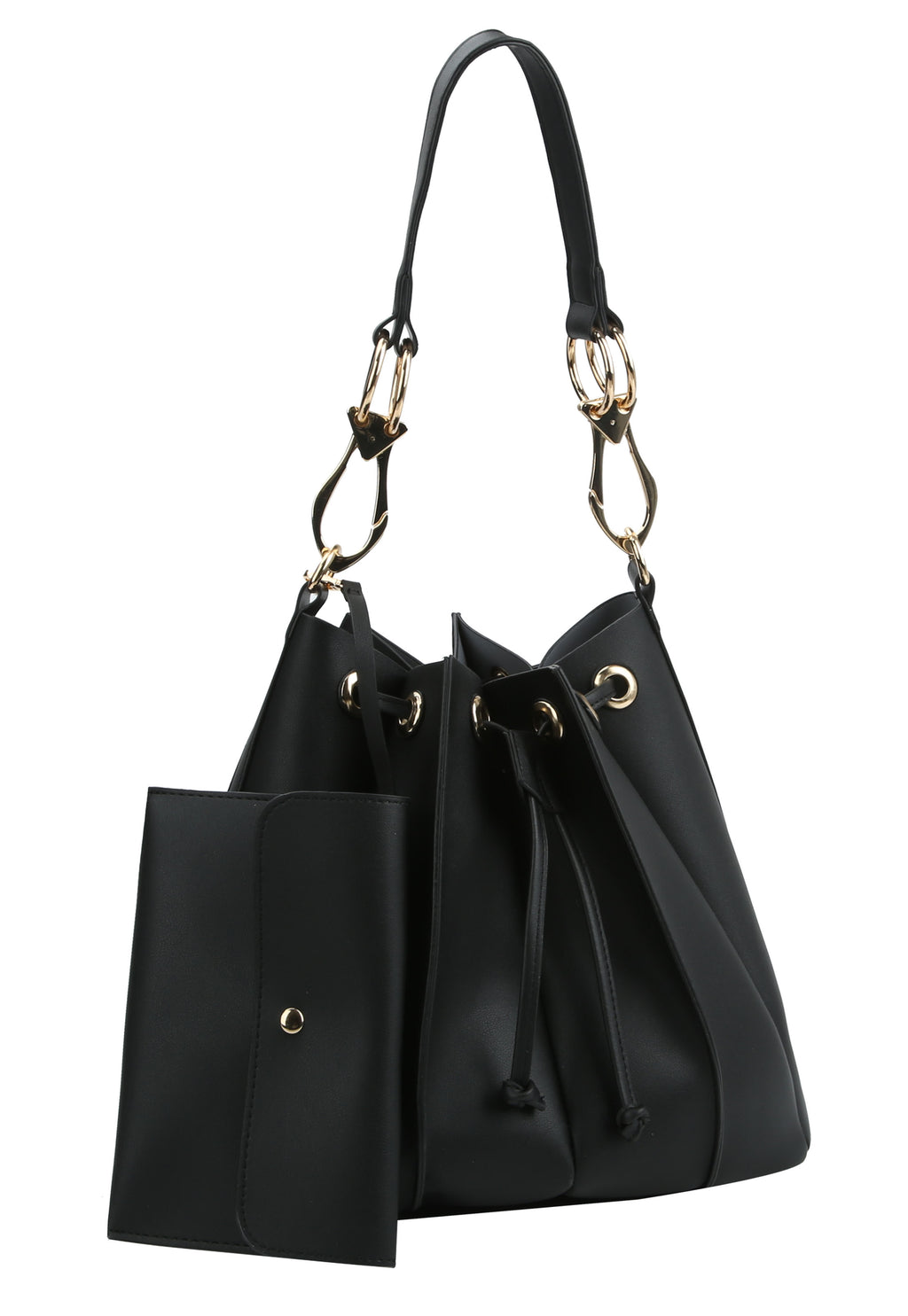 Drawstring Two Tone Hobo Bag