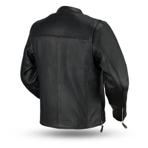 Ace - Clean Cafe Style Men's Leather Jacket