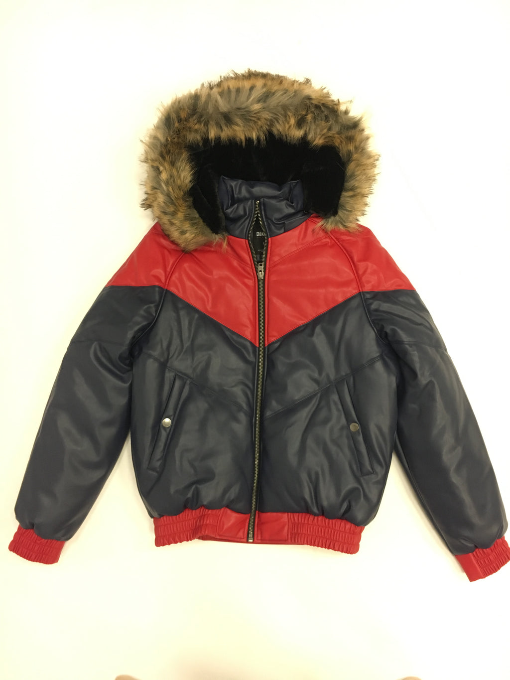 Kids Faux Leather V Bomber Jacket with Detachable Faux Fur Hood - Red and Navy
