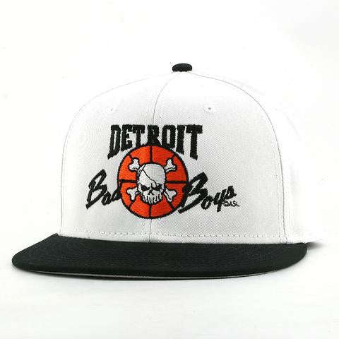 Officially Licensed Detroit Bad Boys Snap Back Hat - White with Black Bill