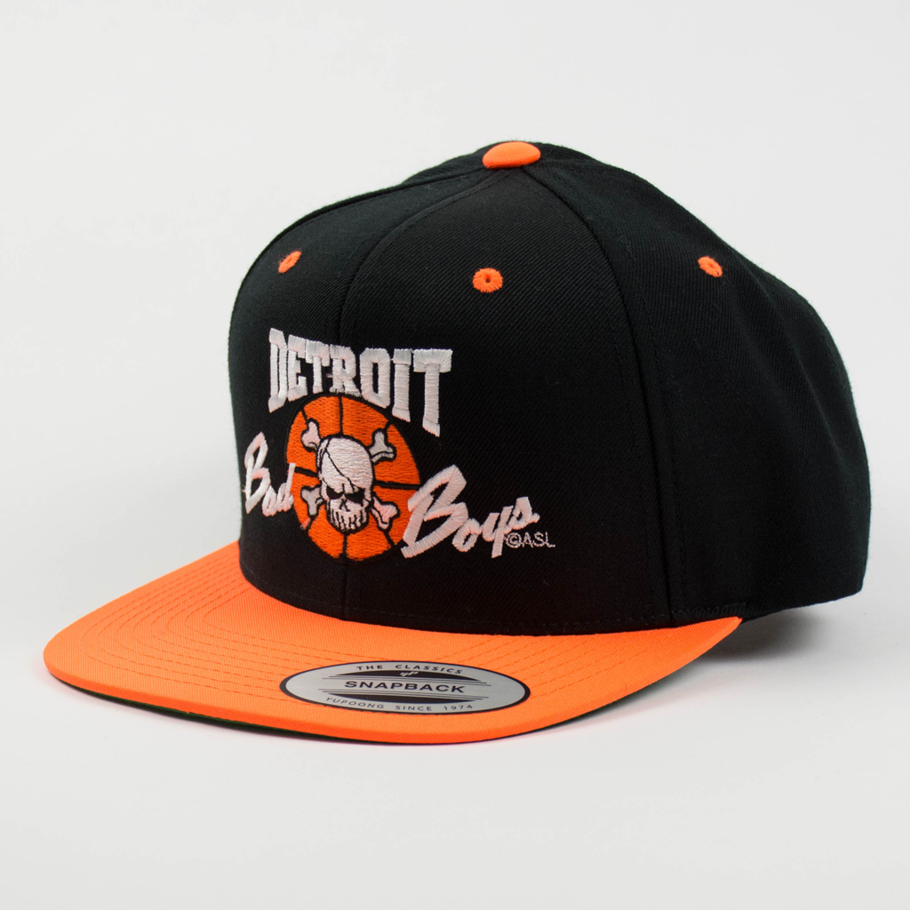Officially Licensed Detroit Bad Boys Snap Back Hat - Black with Orange Bill