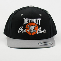 Officially Licensed Detroit Bad Boys Snap Back Hat - Black with Grey Bill (front view)