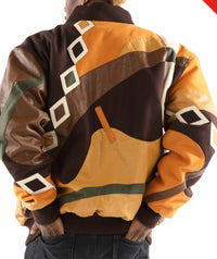 Men's Abstract Wool & Faux Leather - Brown