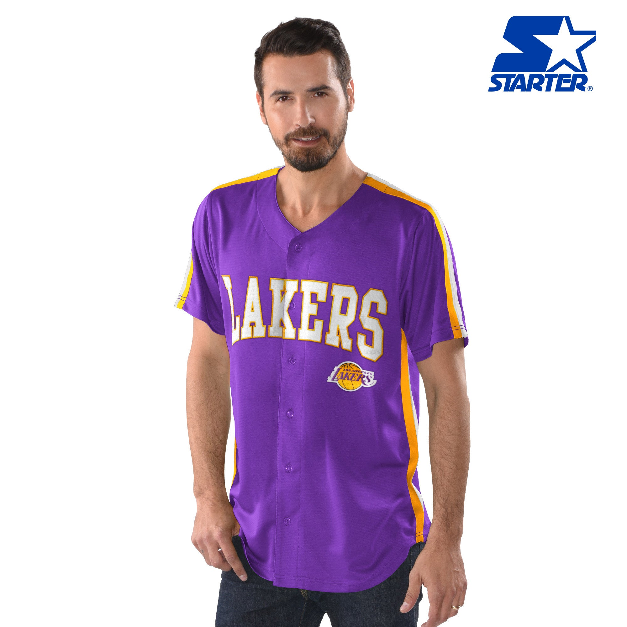 88ef8d1d0c6 Official Starter Los Angeles Lakers Button-Up Jersey – DS Online