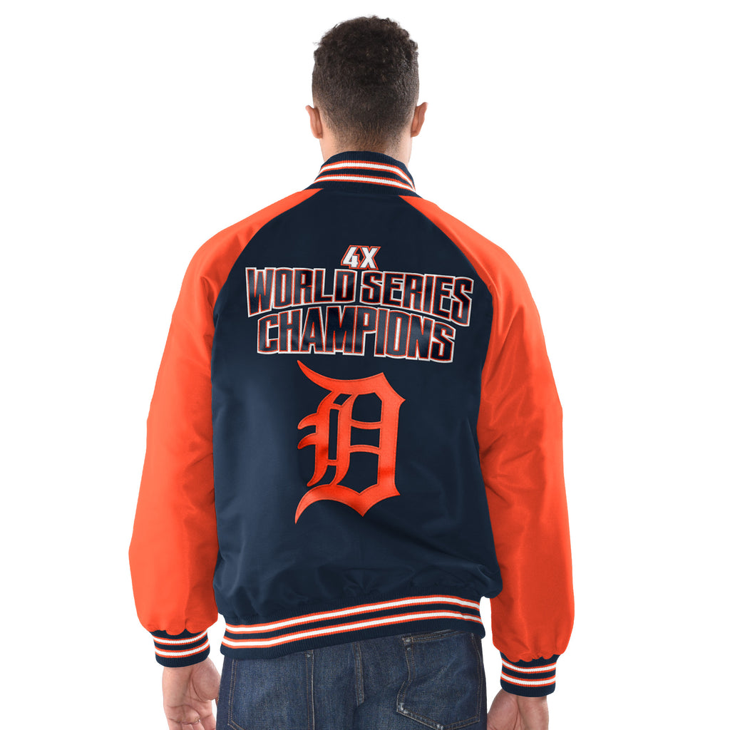 Detroit Tigers World Series Champion Nylon Jacket with patches - Navy Blue with Orange Sleeves (back)