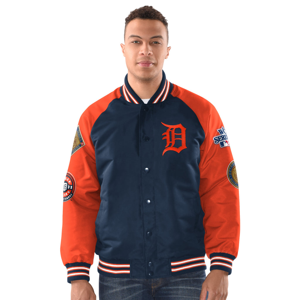 Detroit Tigers Four Time World Series Baseball Jacket with patches - Blue with Orange Sleeves (front)