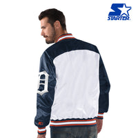 White and Navy Blue Authentic Detroit Tigers Nylon Starter Jacket (back)