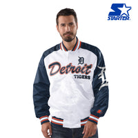 Official MLB White and Navy Blue Detroit Tigers Nylon Starter Jacket (front)