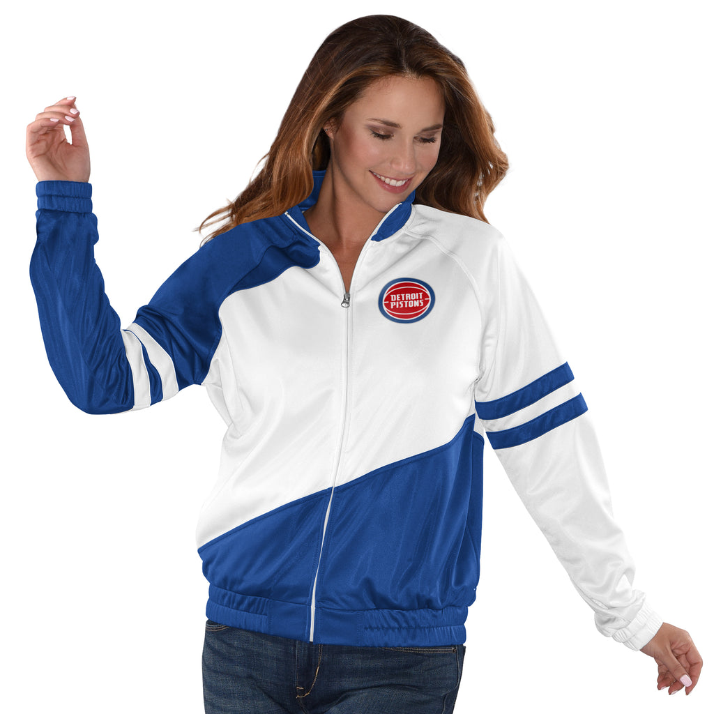 Women's Detroit Pistons Basketball Track Jacket by Carl Banks - White/Blue (front)