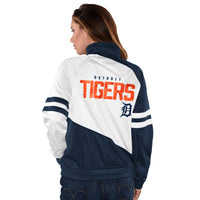 Women's MLB Detroit Tigers Track Jacket by Carl Banks - Navy Blue, White, and Orange (back)