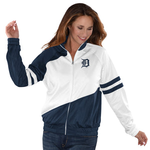 Women's Official MLB Detroit Tigers Baseball Track Jacket by Carl Banks Navy Blue and White (front)