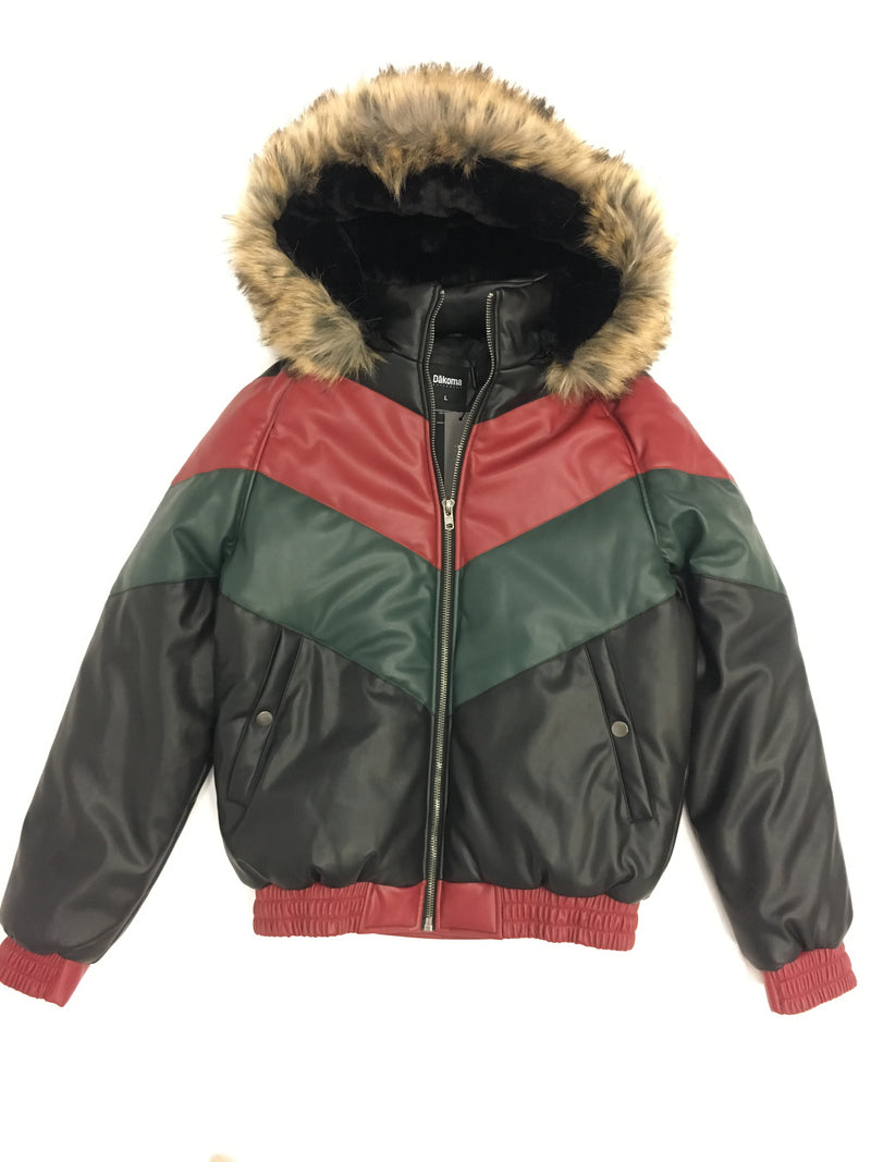 Kids Faux Leather V Bomber Jacket with Detachable Faux Fur Hood - Red,Green,Black