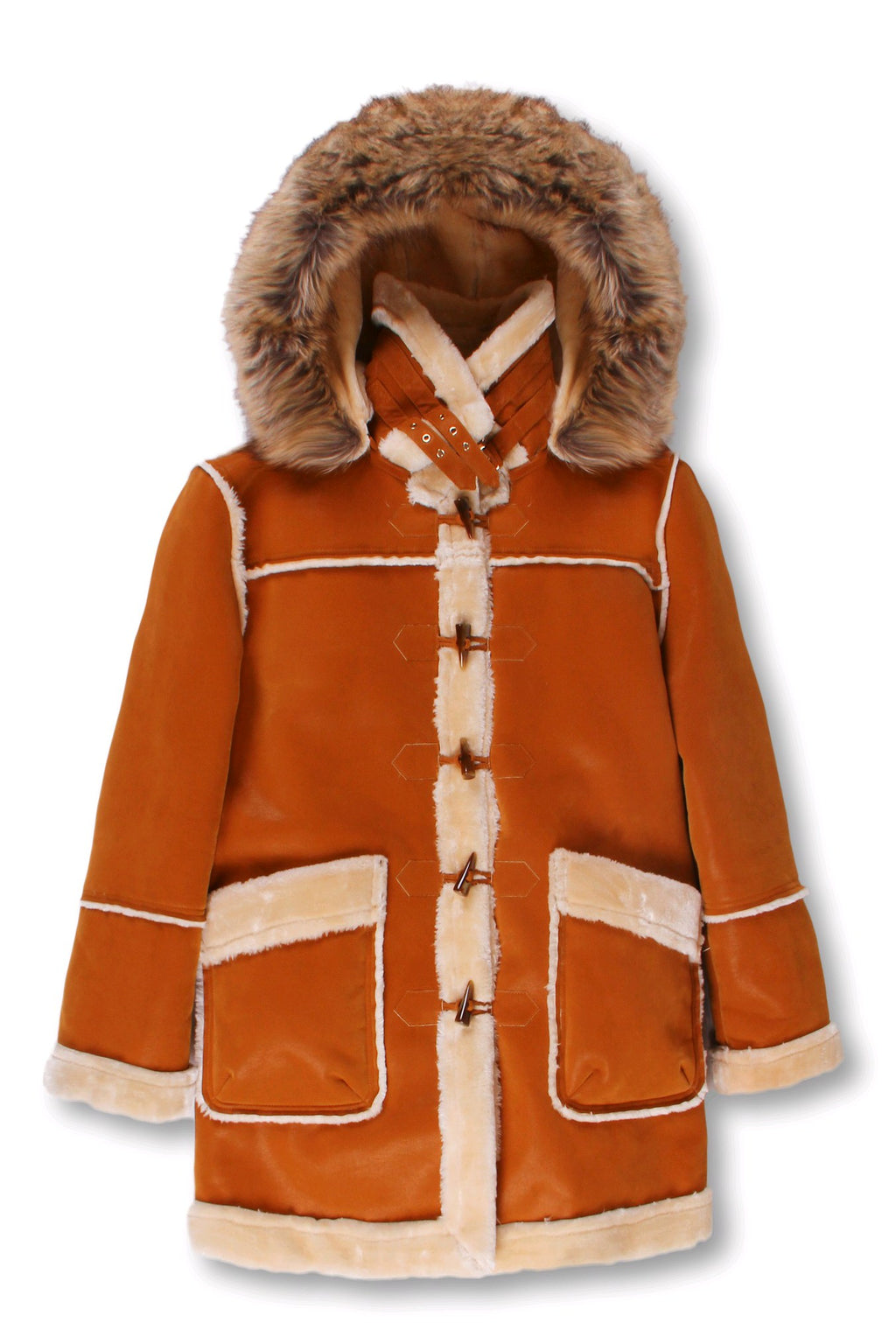 Kids ¾ Toggle Faux Shearling with Detachable Hood - Cognac with Natural