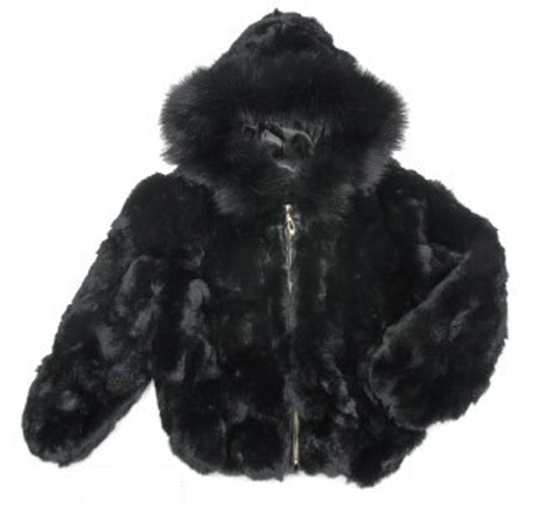 Kids Rabbit Fur Hooded Bomber Jacket - Black