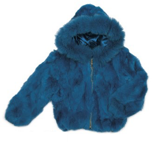 Kids Rabbit Hooded Bomber Jacket - Blue