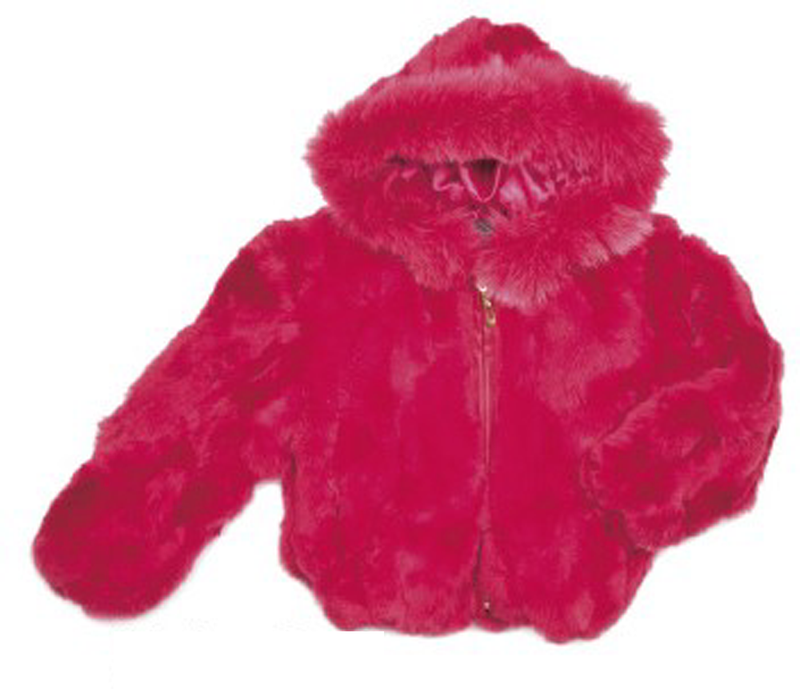 Kids Rabbit Fur Hooded Bomber Jacket - Melon Red