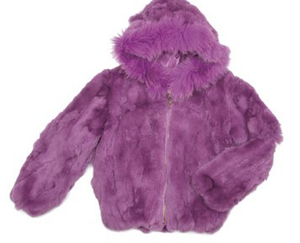Kids Rabbit Hooded Bomber Jacket - Purple