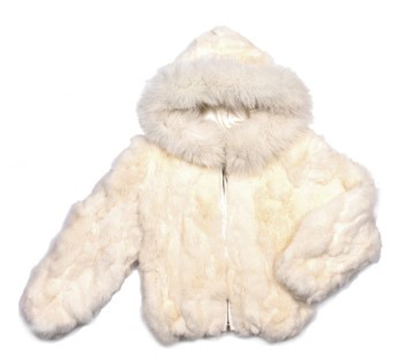 Kids Rabbit Hooded Bomber Jacket - White