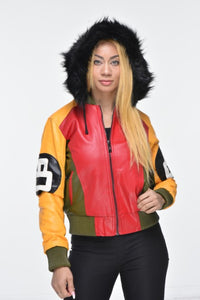 Ladies Eight Ball Faux Leather Bomber Jacket with Detachable Hood – Multi Color