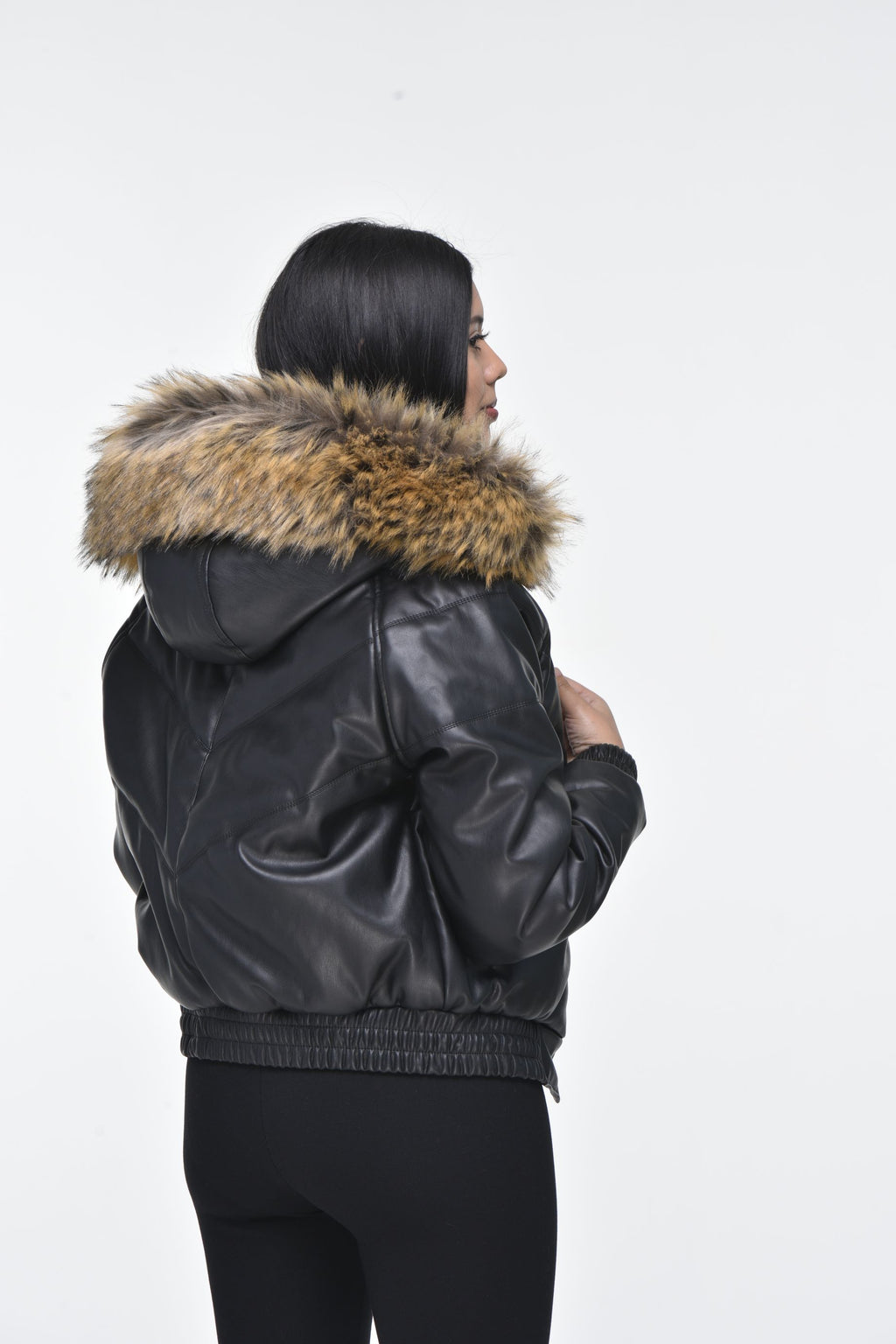 Ladies Faux Leather V Bomber Jacket with Detachable Faux Fur Hood - Black