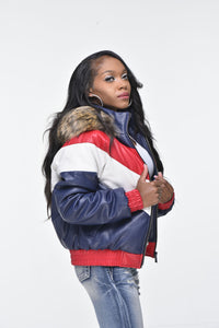 Ladies Faux Leather V Bomber Jacket with Detachable Faux Fur Hood - Red, White, Blue