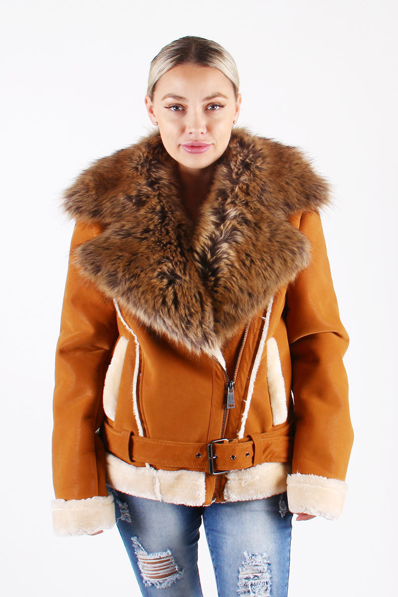 Ladies Faux Shearling with Faux Fur Collar -  Cognac with Natural