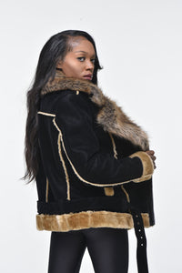 Ladies Faux Shearling with Faux Fur Collar - Black with Natural
