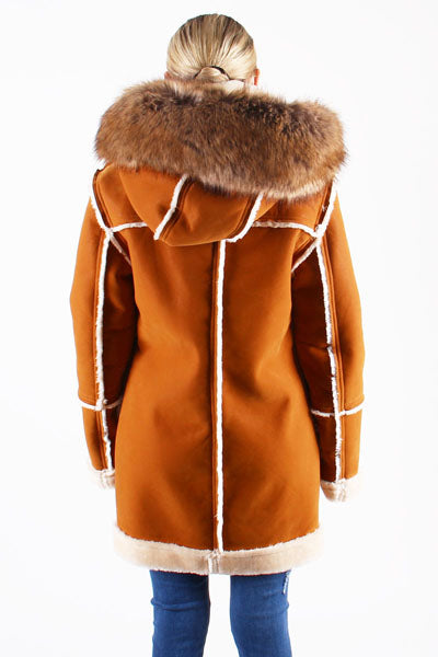 Ladies ¾ Toggle Faux Shearling with Detachable Hood - Cognac with Natural
