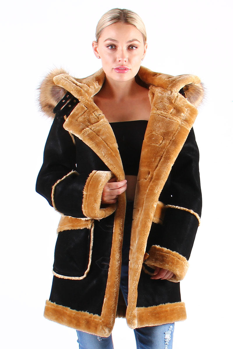 Ladies ¾ Toggle Faux Shearling with Detachable Hood - Black with Natural