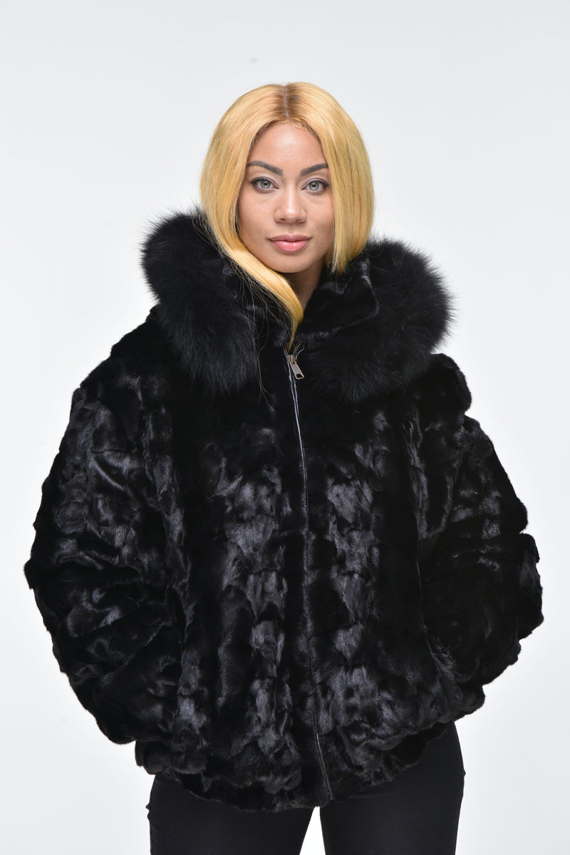 Ladies Mink Fur Bomber Jacket with Hood – Black