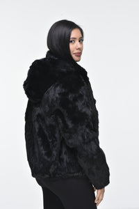 Ladies Rabbit Hooded Bomber Jacket - Black
