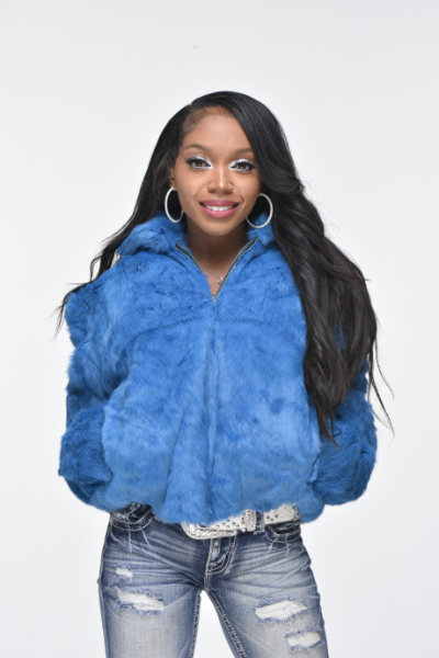 Ladies Rabbit Hooded Bomber Jacket - Light Blue