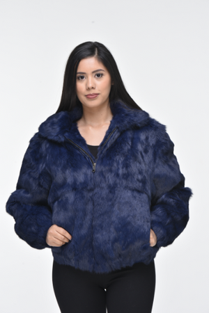 Ladies Rabbit Hooded Bomber Jacket - Navy