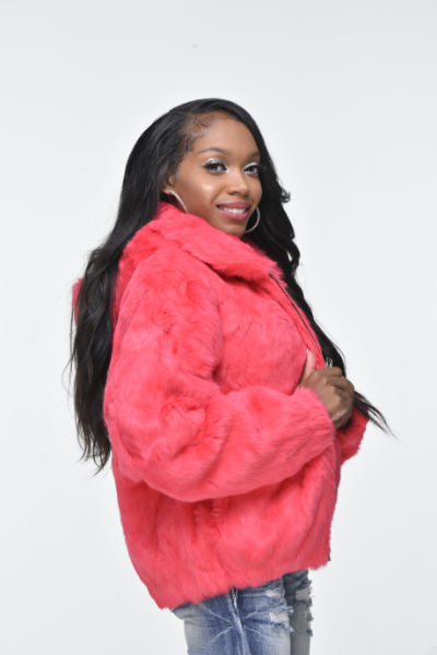 Ladies Rabbit Hooded Bomber Jacket - Pink