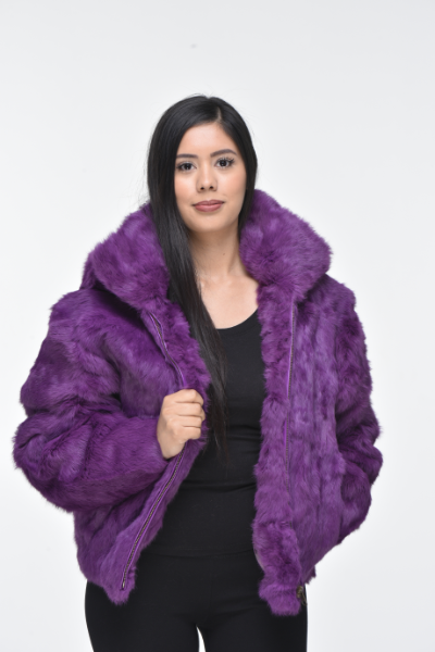 Ladies Rabbit Hooded Bomber Jacket - Purple