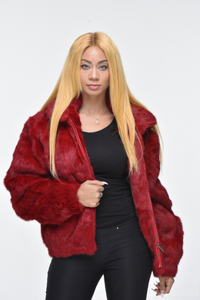 Ladies Rabbit Hooded Bomber Jacket - Red