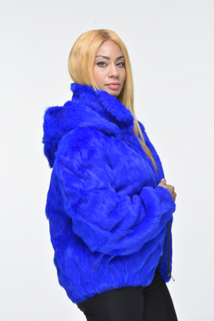 Ladies Rabbit Hooded Bomber Jacket - Royal Blue