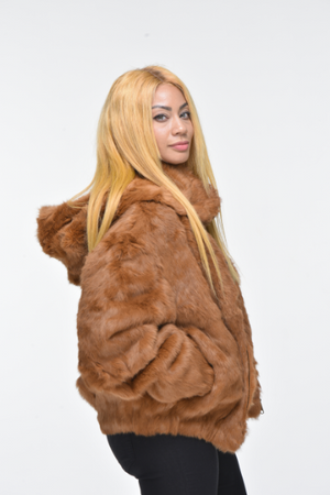 Ladies Rabbit Hooded Bomber Jacket - Whiskey